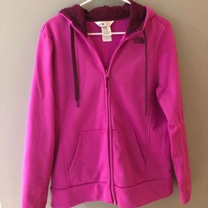 The North Face pink zip-up sweatshirt. Size large.